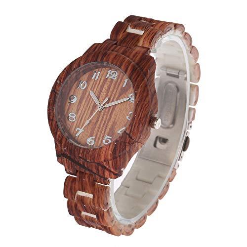 Relojes de Mujer de Grano de Madera, Esfera Digital, Reloj de Pulsera de Cuarzo Simple, Sencillo, Retro, para Hombre, Reloj de diseño, Blanco
