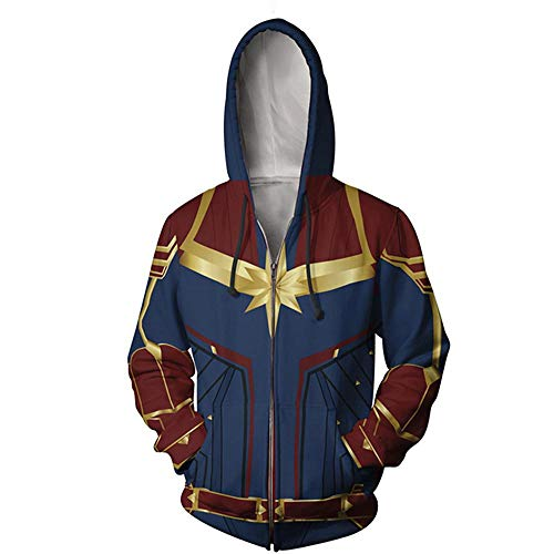 Wild WY Marvel Superhero Punisher Impresión Digital En 3D Sudadera con Cremallera Sudadera con Capucha Cosplay Anime Red-L