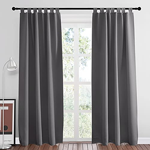 NICETOWN Blackout Curtains Panels for Bedroom - Home Decoration Noise Reducing Thermal Insulated Solid Tab Top Blackout Window Drapes 84 inches Long for Patio (2 Panels, 52 inches Wide, Gray)