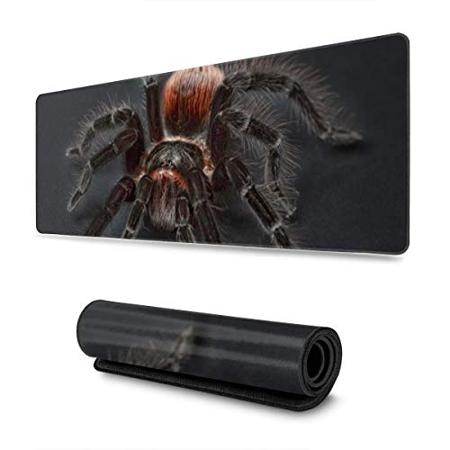 Extended Gaming Mouse Pad with Stitched Edges, Tarantula Spider Large XXL Professional Mousepad with Non-Slip Rubber Base, Waterproof Keyboard Pad Mouse Mat for Gamer, Office & Home, 31.5x11.8 in