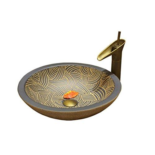 Lavabo créatif au-dessus du bassin de lavage de lavabo de bassin de lavabo de salle de bains antique de bassin de bassin (49x13cm) Meubles-lavabos