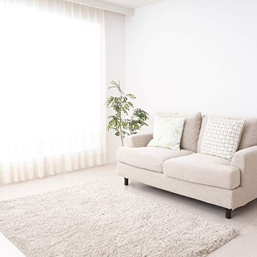 mynes Home Einfarbig Melierter Flauschiger Shaggy Hochflor Langflor Teppich Modern Creme Weiss Uni 30 mm Tricolor Flokati Jugendzimmer Wohnzimmer geeignet (160x230)