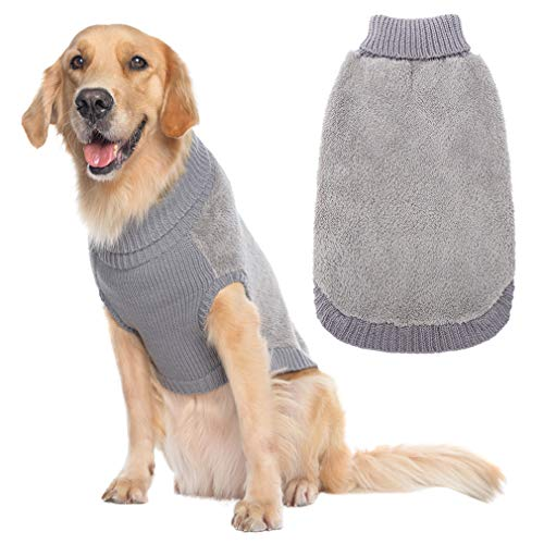 PUPTECK Turtleneck Knitted Dog Sweater - Furry Dog Cold Weather Clothes Outfits, Soft Pet Jumpsuits Warm Winter Coat for Small Medium Large Dogs