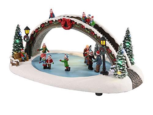 Escena navideña con luces LED de 35 x 21 x 17 cm, diseño de pista de hielo iluminado con música