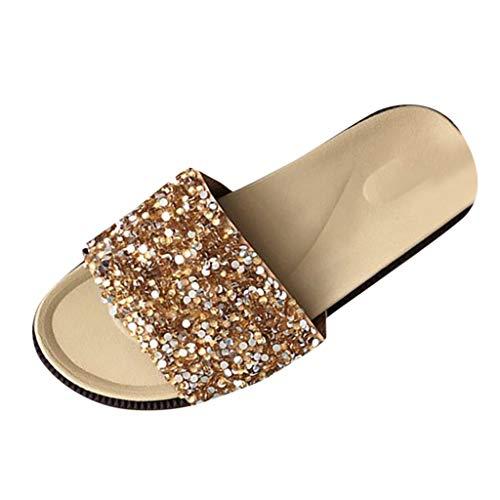 Damen Hausschuhe Sommer Pantoletten Schuhe Bohemian Flach Badeschlappen rutschfeste Flip Flops Sandalen mit Strass Lack Glitzer (EU:36, Gold)