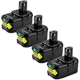 4Packs 18V 6000mAh P108 Battery Replacement for Ryobi 18V Battery Lithium-ion P108 P105 P102 P103 P107 P109 P104 Compatible with Ryobi 18volt ONE+ Batteries