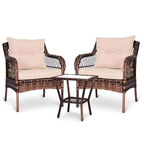 ENSTVER 3 Pieces Patio Conversation Set w/ 2 Rattan Wicker Chairs and Glass Table,for Garden Backyard Lown Porch (Beige)