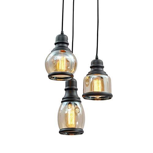 Lámpara Del Techo, Moderno Minimalista Negro Con Protección Solar Botella De Vidrio Candelabro Retro Personalidad Cristal Candelabro De Cristal