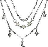 LBBYLFFF Collar Romántico Collar Abrigo Estrella Luna Colgante Collar Plata Plata Mosaico Cristal Collar para Mujer Boda Fiesta Regalo Colgante Collar Regalo para Mujeres Hombres Niñas Niños