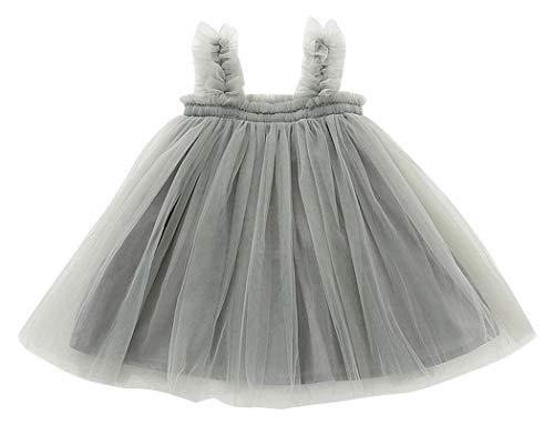 Plus Nao(プラスナオ) ふわふわワンピース ワンピースドレス チュール 子供 子供服 キッズ ベビー ベビー服 幼児 女の子 ノースリーブ 膝丈 グレー 110cm