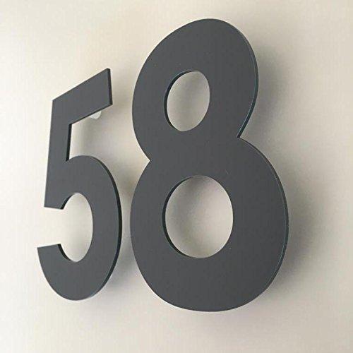 Servewell - Numeri civici century gothic, colore grigio grafite opaco, Grigio, 10 cm