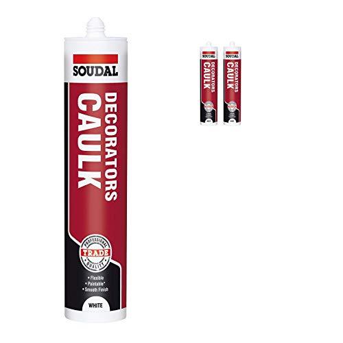 Pack of 2, Soudal Decorator Caulk Gap & Crack Filler Acrylic Silcone Adhesive...