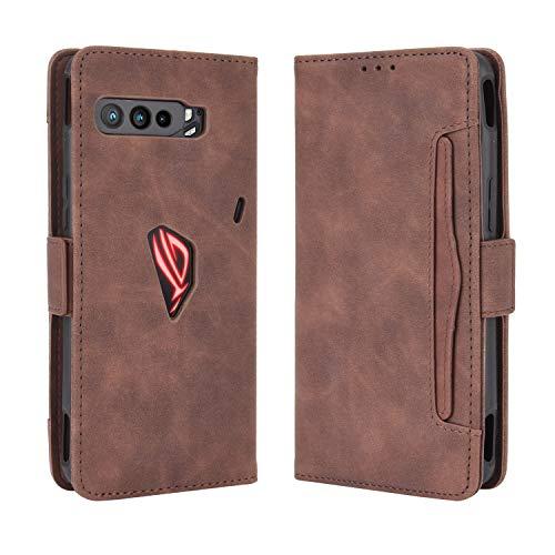 Lederhülle für Asus ROG Phone 3 ZS661KS Hülle, Flip Hülle Schutzhülle Handy mit Kartenfach Stand & Magnet Funktion als Brieftasche, Tasche Cover Etui Handyhülle für Asus ROG Phone 3 ZS661KS, Brown