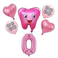 バルーン 6個の青いピンクの漫画の歯のテーマの風船ラテックス風船番号1-9誕生日パーティーの装飾キッズのおもちゃ (Color : 6pcs Pink 0)