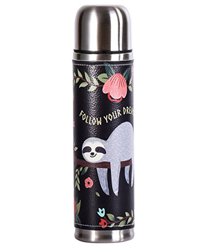 ZZKKO Sloth Follow Your Dreams Stainless Steel Water Bottle Leak Proof Vacuum Insulated Thermos Flask 17 Oz Genuine Leather Wrapped Cover