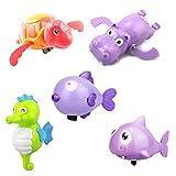 Toyvian 5pcs giochi per il bagnetto bambini,Animali Vasca da bagno Clockwork Giocattoli educativi per bambini (Tartaruga / Ippopotamo / Squalo / Pesce che bacia / Cavalluccio marino)