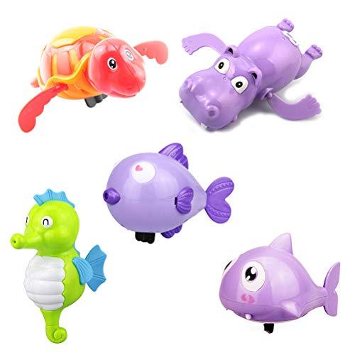 Toyvian Juguetes de baño para bebés Juguetes de Cuerda para Animales Juguetes educativos para niños 5pcs (Tortuga / hipopótamo / tiburón / Besos de pez / hipocampo)
