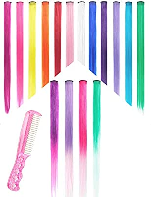 Hair Extensions Clip in Hair Extensions Highlights Straight Long Hairpiece Hair Accessories for Girls Women Kids Doll Hair Pieces Colored Wigs Pieces 22 Inches Pack of 16 Pieces 1 Steel Comb for Free