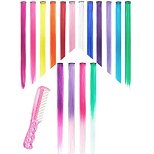 Hair Extensions Pack of 16 Pieces 1 Steel Comb for Free Clip in Hair Extensions Highlights Straight Long Hairpiece Hair Accessories for Girls Women Kids Doll Hair Pieces Colored Wigs Pieces 22 Inches