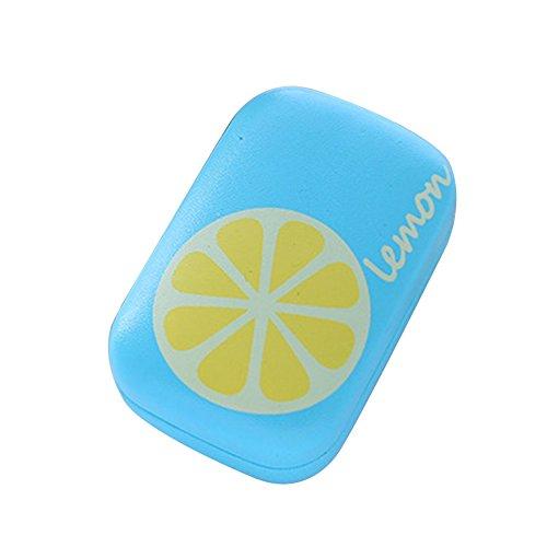 Fablcrew Boîtier de Lunettes Matériel de Cas de lentille de Contact de Citron Bleu: PU, Taille: 8.5cm * 5.8cm * 3cm.