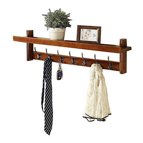 NEWSHELF kaphaken, kapstok aan de muur gemonteerde houten entree rekken met 7 legering dubbele haken voor hal badkamer woonkamer keuken, retro kleur (34 inch)
