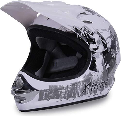 Actionbikes Motors Motorradhelm X-Treme Kinder Cross Helme Sturzhelm Schutzhelm Helm für Motorrad Kinderquad und Crossbike (Weiß, M)