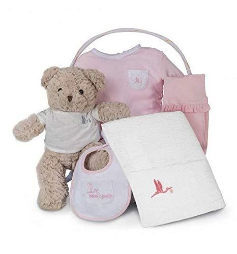 BebeDeParis | Cadeaux originaux pour les nouveau-nés | Panier spa essentiel | Idéal pour | 3-6 mois (rose)