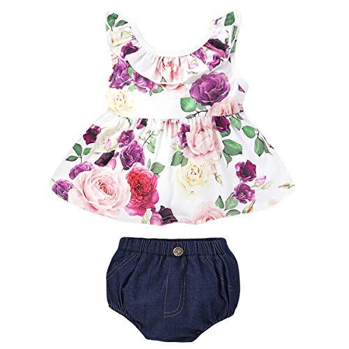 puseky 2 Stück Baby Baby Kleidung Ärmellose Blumen Rüschen Shirt Bloomer Shorts Outfits Set
