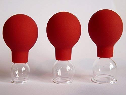 Schröpfgläser 3 im SET 10-15-20 mit Saugball Schröpfglas Feuerlos Narbenbehandlung Gesichtsmassage