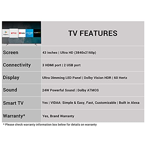 Toshiba 108 cm (43 inches) Vidaa OS Series 4K Ultra HD Smart LED TV 43U5050 (Black) (2020 Model) | With Dolby Vision and ATMOS 3
