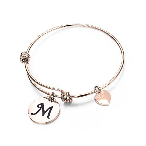 Ensianth - Braccialetto con ciondolo con iniziale, colore: oro rosa, ideale come regalo per la festa della mamma, per un compleanno o come braccialetto dell'amicizia