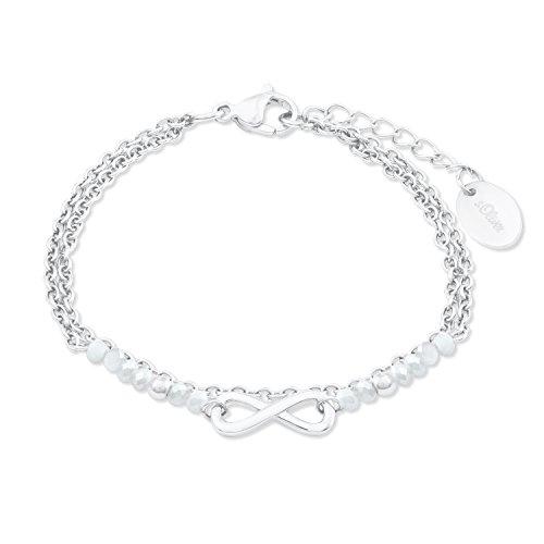 s.Oliver Damen Armband mit Infinity-Anhänger aus Edelstahl mit Glassteinen längenverstellbar