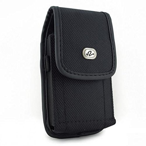 Black Rugged Canvas Phone Case Cover Pouch Belt Clip for Verizon Motorola Moto Z Force Droid - Verizon Motorola Moto Z Play Droid - Verizon Motorola Moto Z2 Force - Verizon Motorola Moto Z2 Play