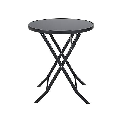DKIEI Round Folding Table Coffee Table Leisure Table Outdoor Table Metal Table for Balcony Bistro Garden Camping Picnic Furniture Black, 60 * 60 * 71cm