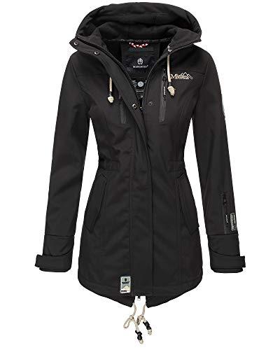 Marikoo Damen Jacke Softshelljacke Übergangsjacke Outdoor Winddichte Wasserabweisend Funktionsjacke mit Kapuze XS - XXL Zimtzicke (Schwarz, M)