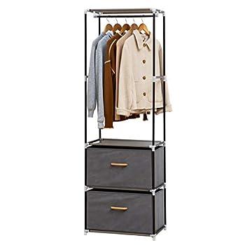 Metal Clothes Garment Rack Freestanding Open Wardrobe Closet Storage Organizer Standing Shelf with 2 Drawers