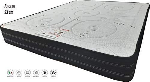 SARDAMATERASSI- Materasso Memory Matrimoniale Serena 160x190 Altezza 23 cm, Fodera in Silver Care antiacaro e Antibatterico.