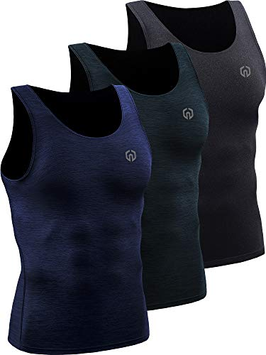 Neleus Men's 3 Pack Compression Tank Top Tight Muscle Shirts,5074,Black (Grey)/Slate Gray/Navy,US XL,EU 2XL