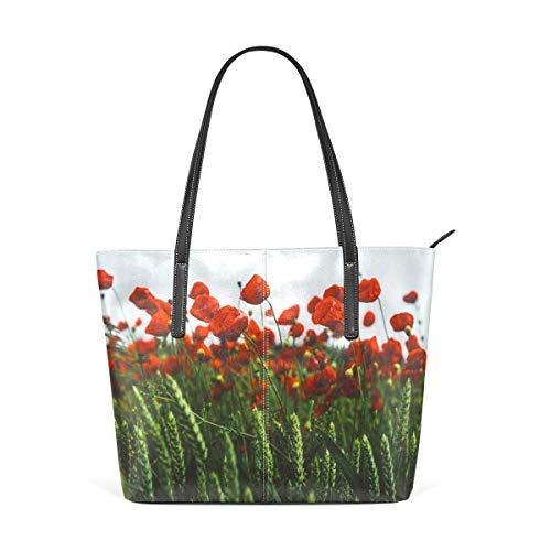 BAODANLA Borse a spalla da donna Women's Soft Leather Tote Shoulder Bag Red Poppies Purse PU Leather Shoulder Tote Bag Purse for Womens Girls Ladies