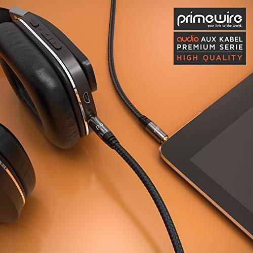 CSL - AUX Klinkenkabel 2m mit Nylonmantel - Klinke auf Klinke 3,5 mm - Audiokabel - kompatibel mit Apple iPhones, iPads, Smartphones, MP3 Player, Tablet PCs, Echo Dot, Stereoanlage, Autoradio UVM.