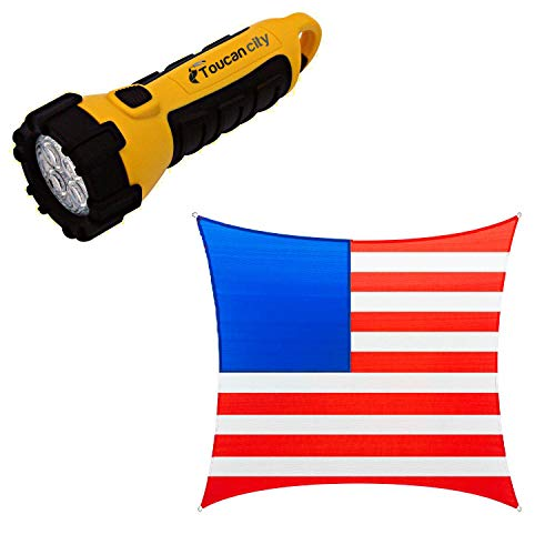 Toucan City LED Flashlight and COLOURTREE 12 ft. x 12 ft. 190 GSM Vibrant Patriotic Square Sun Shade Sail, Outdoor Patio and Pergola Cover (Stars Not Included) TAPS12-18