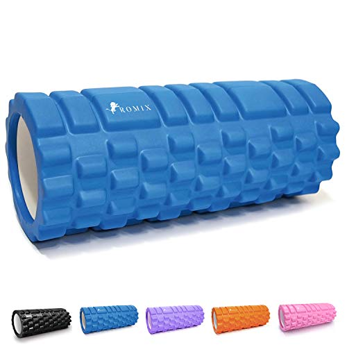 ROMIX Foam Roller for Deep Tissue Muscle Massage to release Legs and Back pain, Extra Firm High Density Ultra Durable Resistant Trigger Point Therapy, Crossfit Stretching, Pilates Yoga (Blue)
