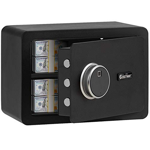 COSTWAY 0.5 Cubic Feet Fingerprint Safe Security Lock Box, Safe Cabinet with Inner LED Light,...