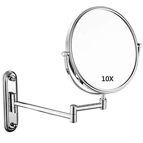 LZLYER Espejo Espejo de Escritorio Tocador Baño Colgante de Pared Decoración Belleza, X Ampliación Doble Cara Giratorio Libre Extensible,a