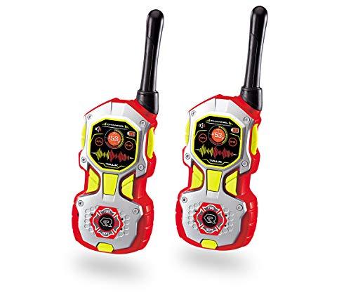 Dickie Toys 201118194 Walkie Talkie in Feuerwehroptik, Feuerwehr, flexible Antenne, 2 Funkgeräte pro Set, 18 cm groß, Reichweite bis zu 80 m, Frequenz: 40 MHz, inkl. Batterien, rot/silber, ab 4 Jahren