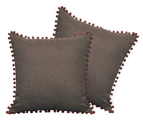 Aspthoyu Pacote com 2 capas de almofada de sofá 45 x 45 cm fronhas com zíper invisível para casa restaurante, cofre, biblioteca marrom