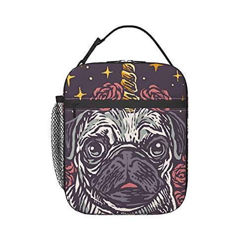 Bolsa de almuerzo reutilizable con mango de hebilla manos libres lindo perro perro perro perro perro aislado refrigerador almuerzo caja para hombres niñas para viajes picnic trabajo escuela pesca