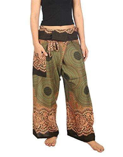 Lannaclothesdesign Damen Thai Fisherman Hose Yoga Hose Weite Beine Hose -  Grün -  32/44 DE /Large 91 cm