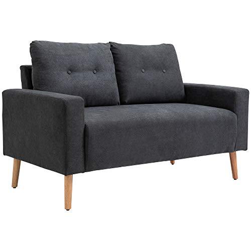 HOMCOM Sofa, 2-Sitzer, skandinavisches Design, hoher Komfort Relaxsessel mit Armlehne, Gummiholzbeine, Dunkelgrau, 145x76x88 cm