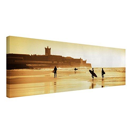 Bilderwelten Cuadro en Lienzo - Surfer Beach - Panorama Apaisado, Cuadros Cuadro Lienzo Cuadro sobre Lienzo Cuadro Moderno Cuadro Decoracion Cuadros Decorativos Cuadro XXL, Tamaño: 60 x 180cm